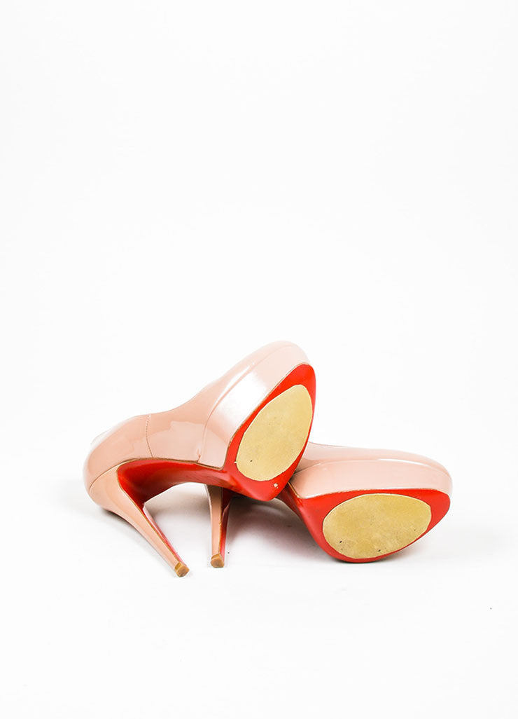 "Nude Christian Louboutin Patent Leather Platform ""Bianca"" Pumps Outsoles"
