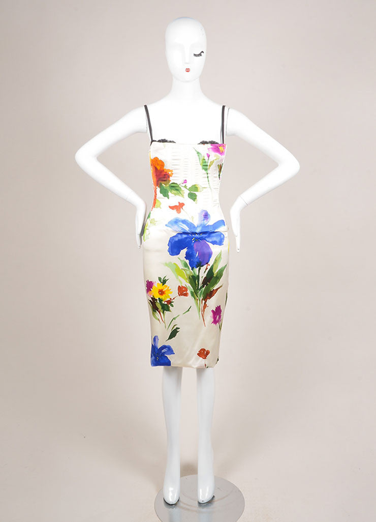 Dolce & Gabbana Cream and Multicolor Floral Print Bustier Dress Frontview