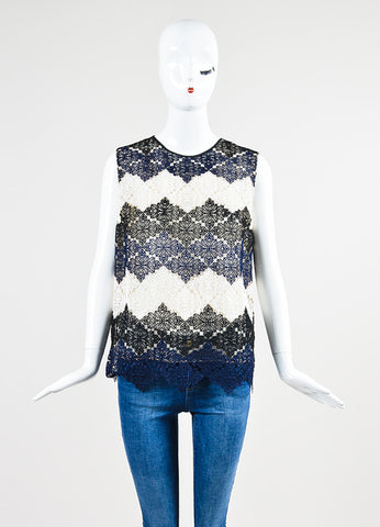 Cream, Navy, and Black Erdem Mesh Crochet Lace Sleeveless Top Frontview