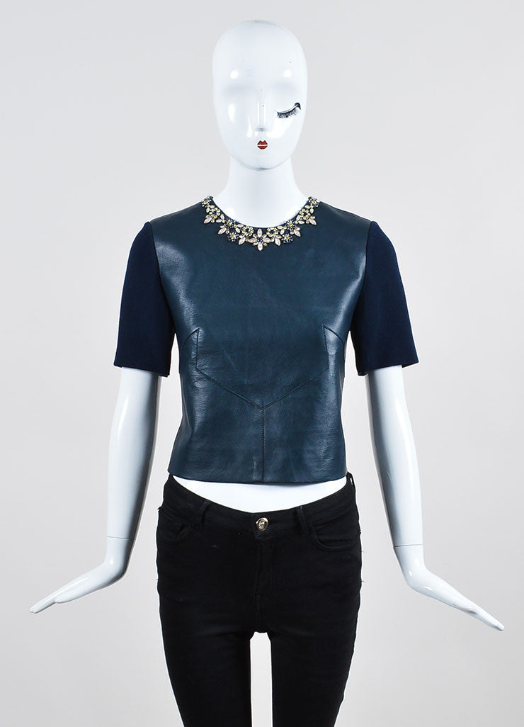 "Navy Erdem Wool and Leather Jewel Embellished ""Juana"" Short Sleeve Crop Top Frontview"