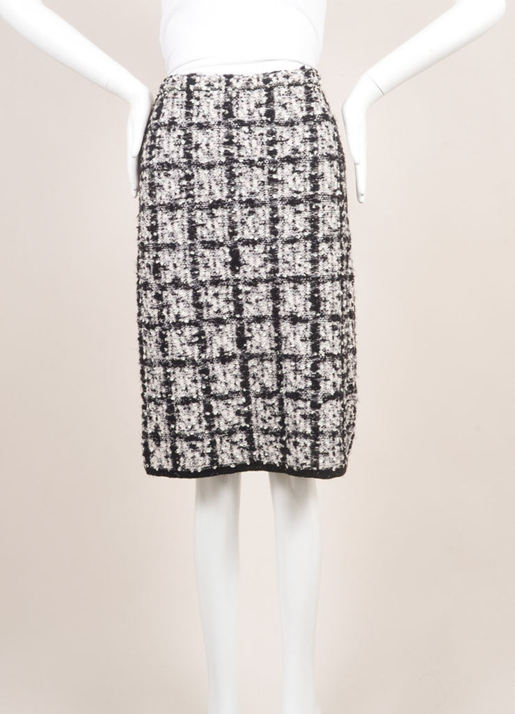 Escada Black and White Wool Tweed Check Pencil Skirt Backview