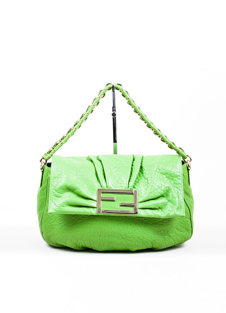 "Kelly Green Fendi Pebbled Leather Chain Strap ""Mia Agnello"" Flap Bag Frontview"
