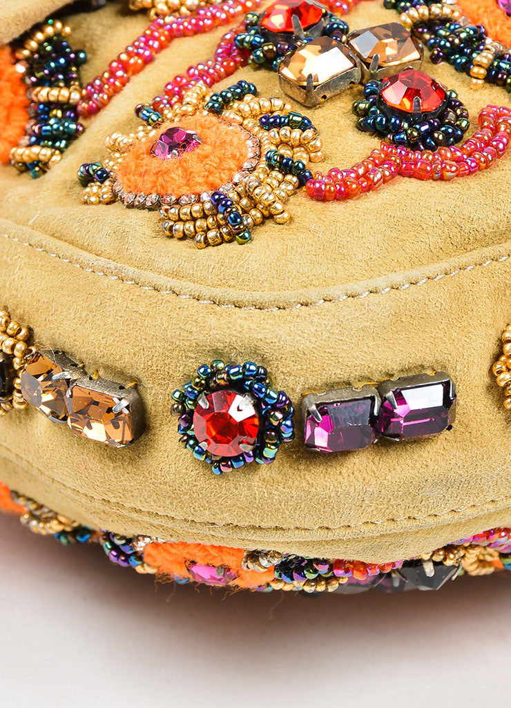 "Tan Fendi Suede, Rhinestone, and Bead Embellished Top Flap ""Baguette"" Shoulder Bag Detail"