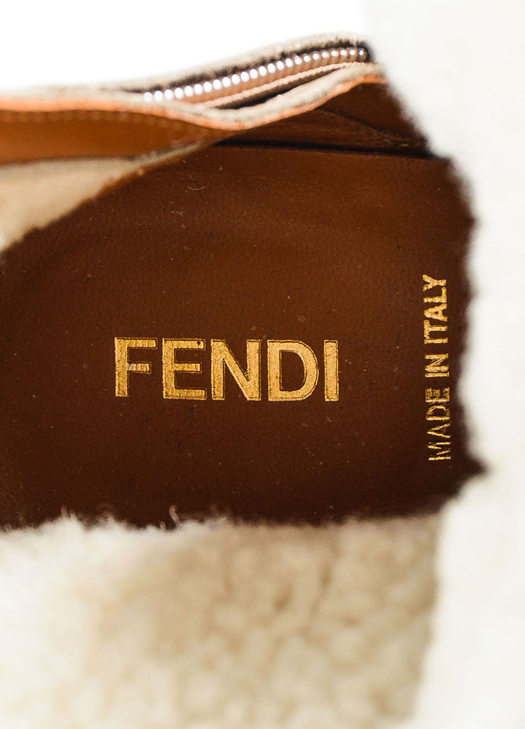 Fendi Taupe Shearling Lined Buckle Detail Wedge Booties Brand