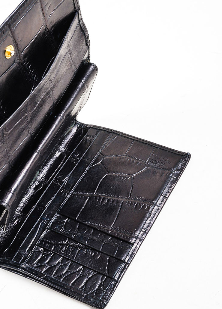 Black Gianni Versace Crocodile Embossed Leather Medusa Trifold Wallet Interior