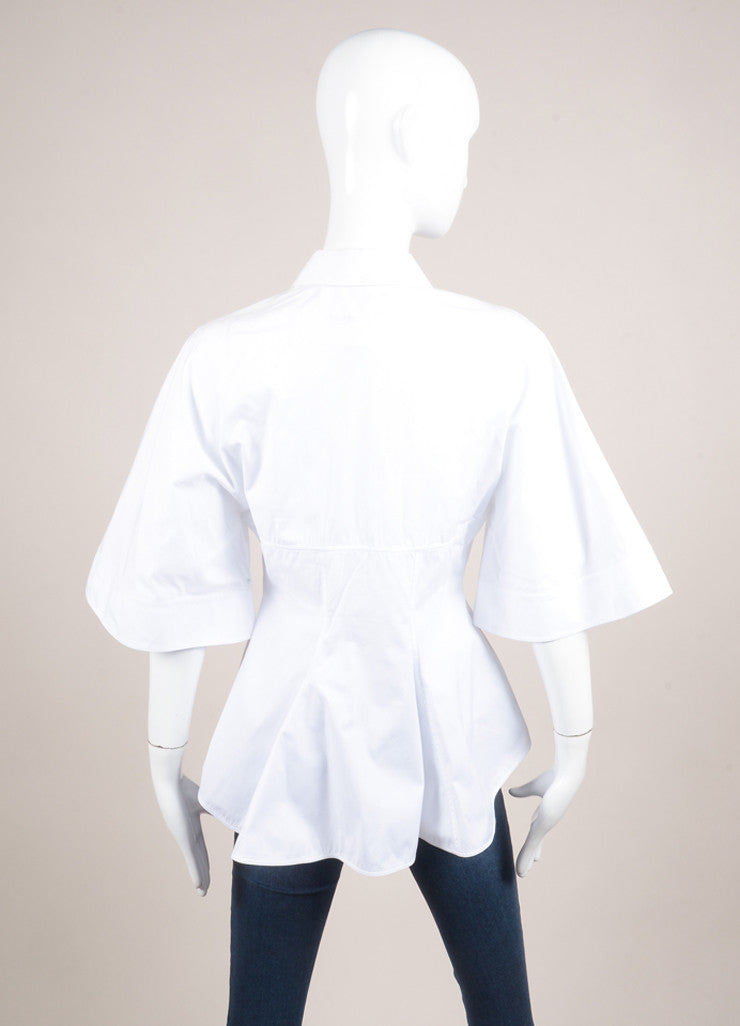 Givenchy White Seamed Bodice Flared Short Sleeve Cotton Blouse Backview