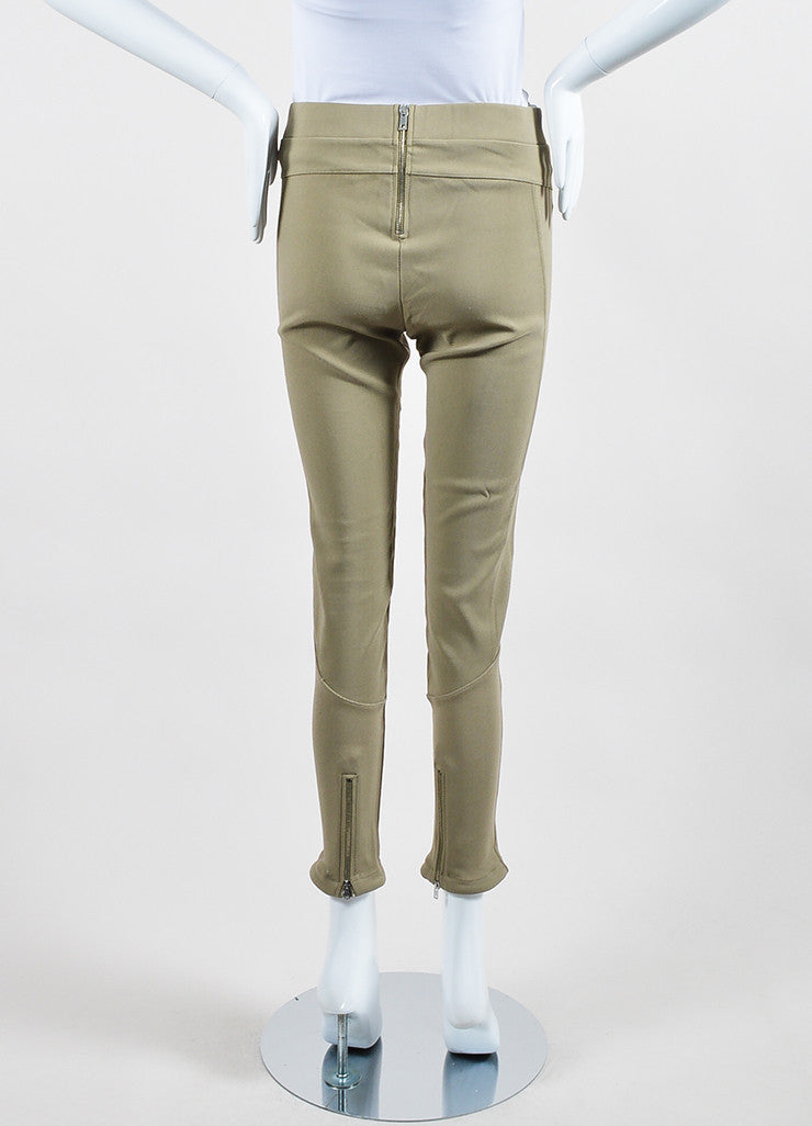 Khaki Beige Givenchy Cotton Nylon Blend Stretch Zip Skinny Moto Leggings Backview