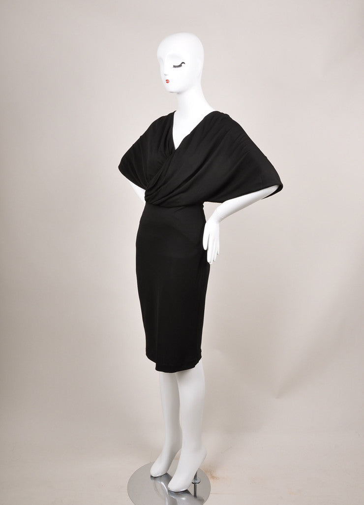 Givenchy New With Tags Black Cross Drape Mid-Sleeve Jersey Dress Sideview