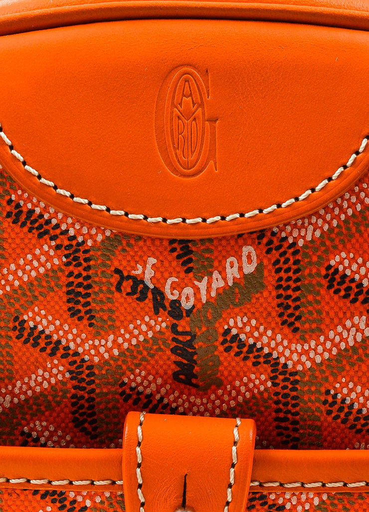 "Goyard Orange Coated Canvas and Leather Chevron Print ""Sainte Jeanne PM"" Satchel Bag Brand"