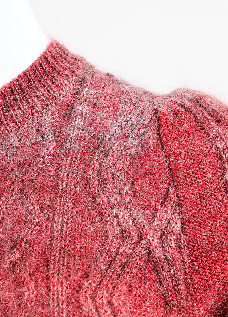 Red and Grey Gucci Mohair, Silk, and Wool Cable Knit Sweater Detail