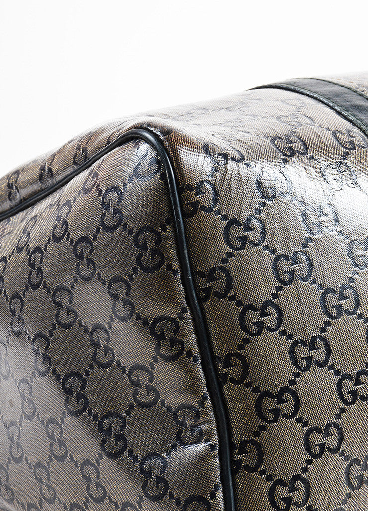 "Taupe Navy Gold Gucci Coated Canvas Leather Monogram ""Joy Boston"" Bag Detail 2"