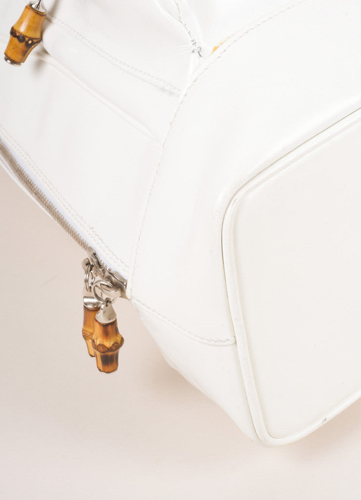 Gucci White Leather Slingback Bamboo Backpack Detail