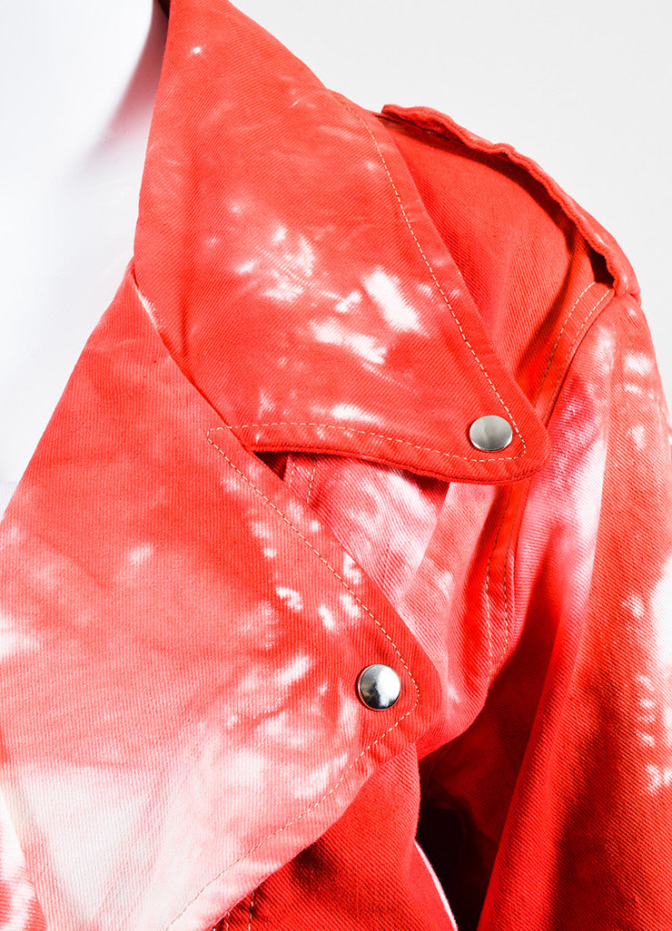 "Red and White Isabel Marant Stretch Cotton Denim Tie Dye Moto ""Idini"" Jacket Detail"