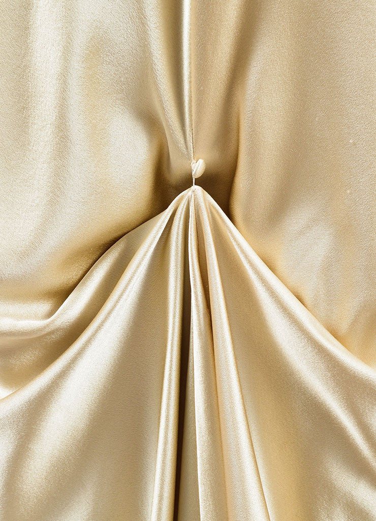J. Mendel Champagne Satin Open Back V Neck Draped Gown Detail