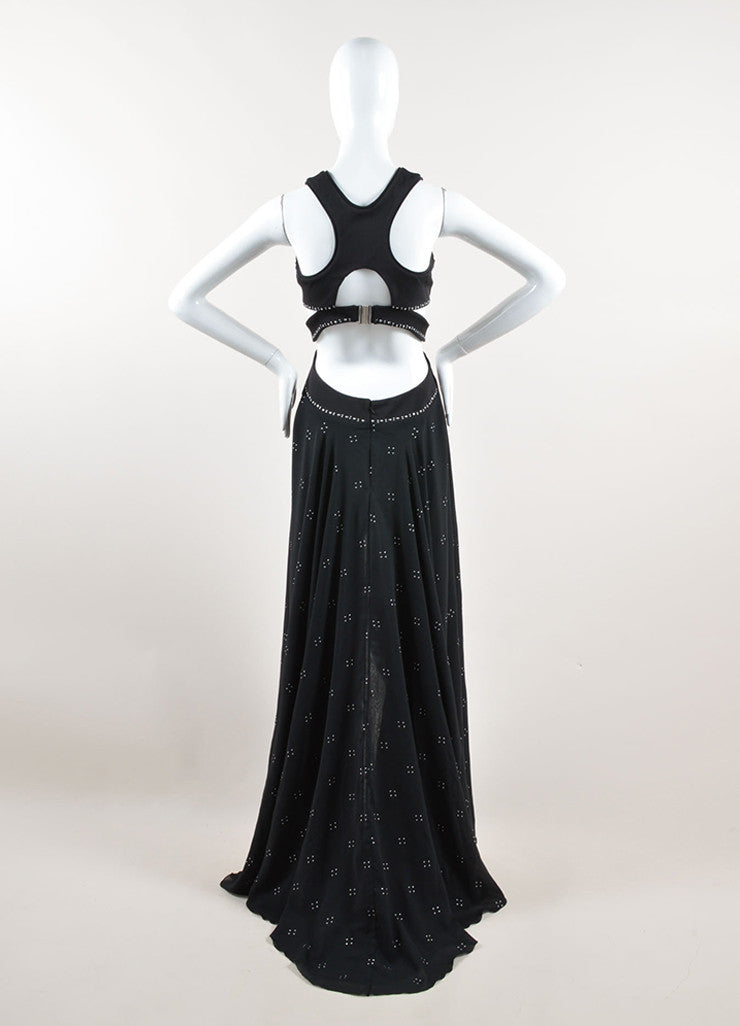 Jay Ahr Black and Silver Toned Studded Sleeveless Cut Out High Low Gown Backview
