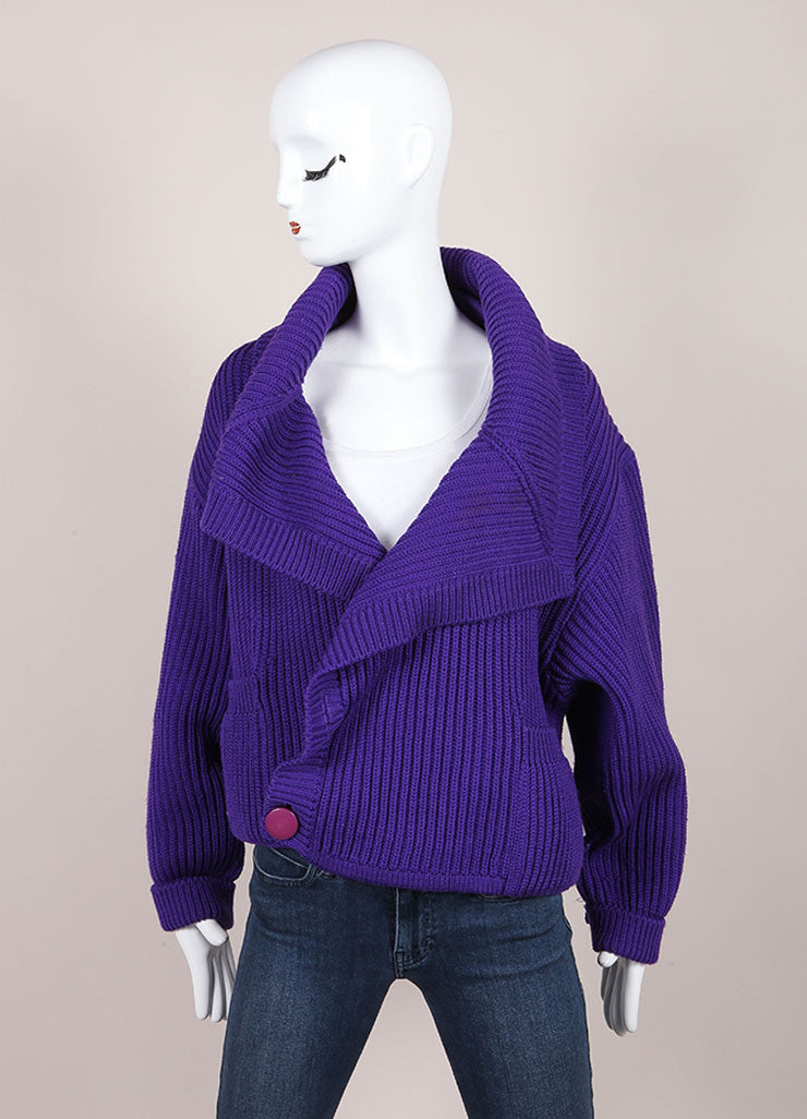 Karl Lagerfeld Purple Wool Shawl Collar Chunky Knit Cropped Sweater Frontview