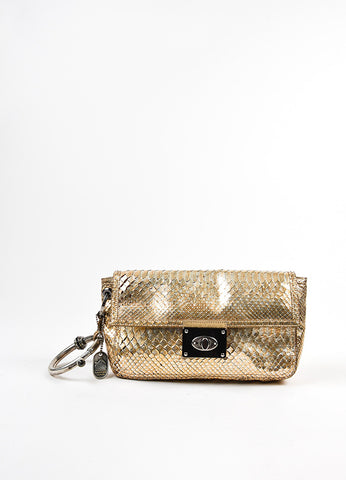 Lanvin Gold and Silver Metallic Python Leather Ring Handle Clutch Bag Frontview