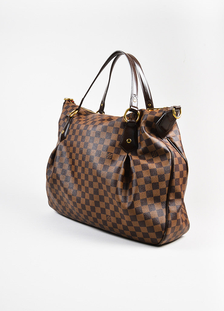 "Ebene Brown Louis Vuitton Coated Canvas Damier GM ""Evora"" Bag Side"