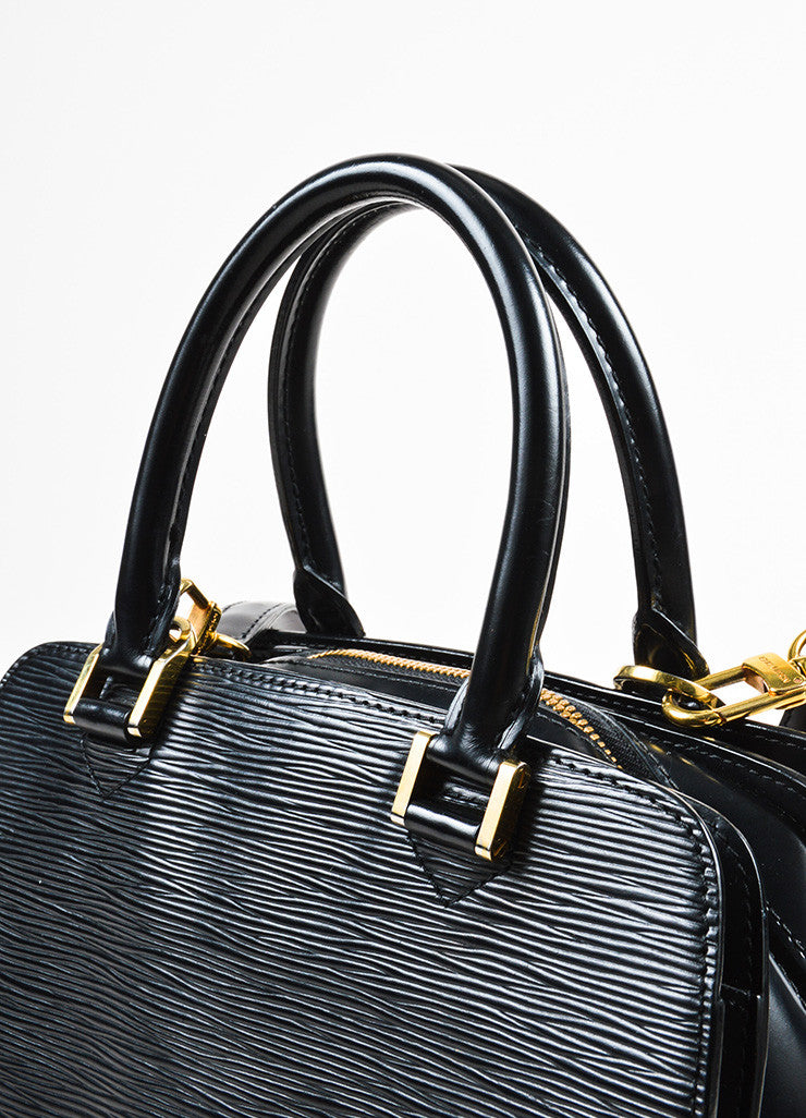 "Louis Vuitton Black and Gold Toned Epi Leather ""Pont-Neuf PM"" Crossbody Strap Bag Detail 2"