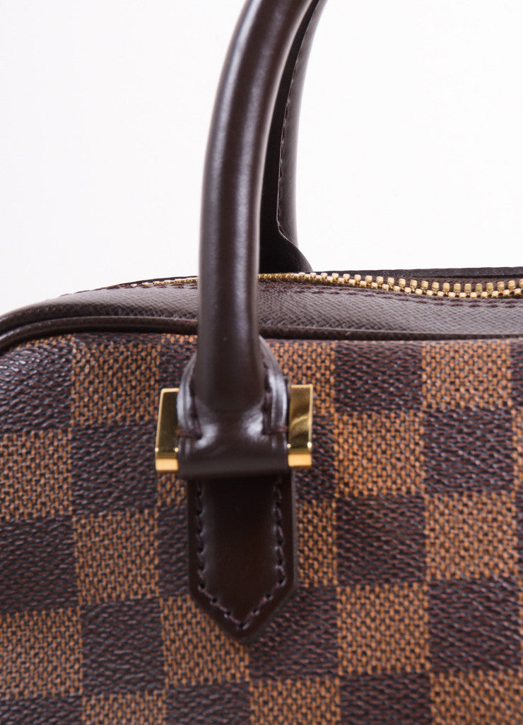 "Louis Vuitton Brown Canvas and Leather Checkered ""Damier Ebene Brera"" Tote Bag Detail 2"