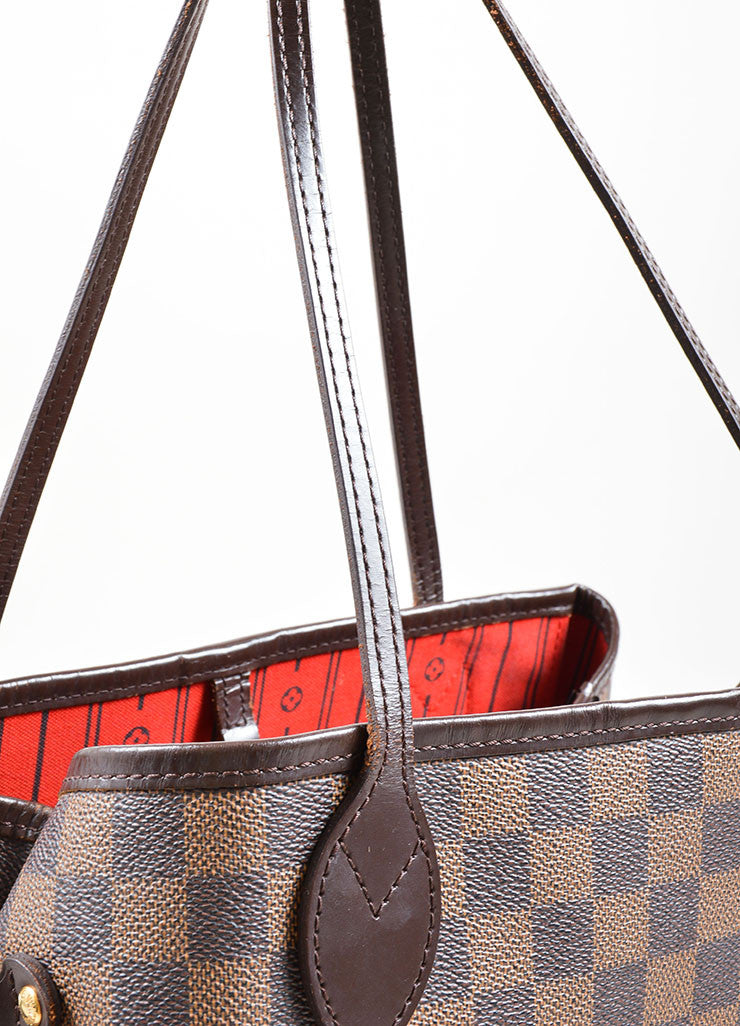 "Louis Vuitton Brown Coated Canvas ""Damier"" Tote Handbag Detail 2"