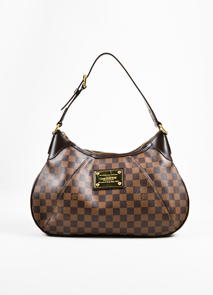 "Louis Vuitton Brown Damier Ebene Canvas ""Thames GM"" Hobo Shoulder Bag Frontview"