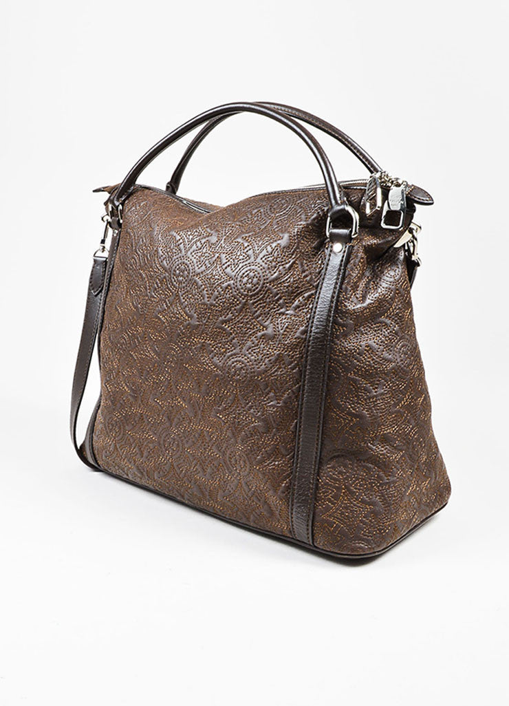 "Brown Louis Vuitton Leather Stitched Monogram ""Antheia Ixia MM"" Tote Bag Sideview"