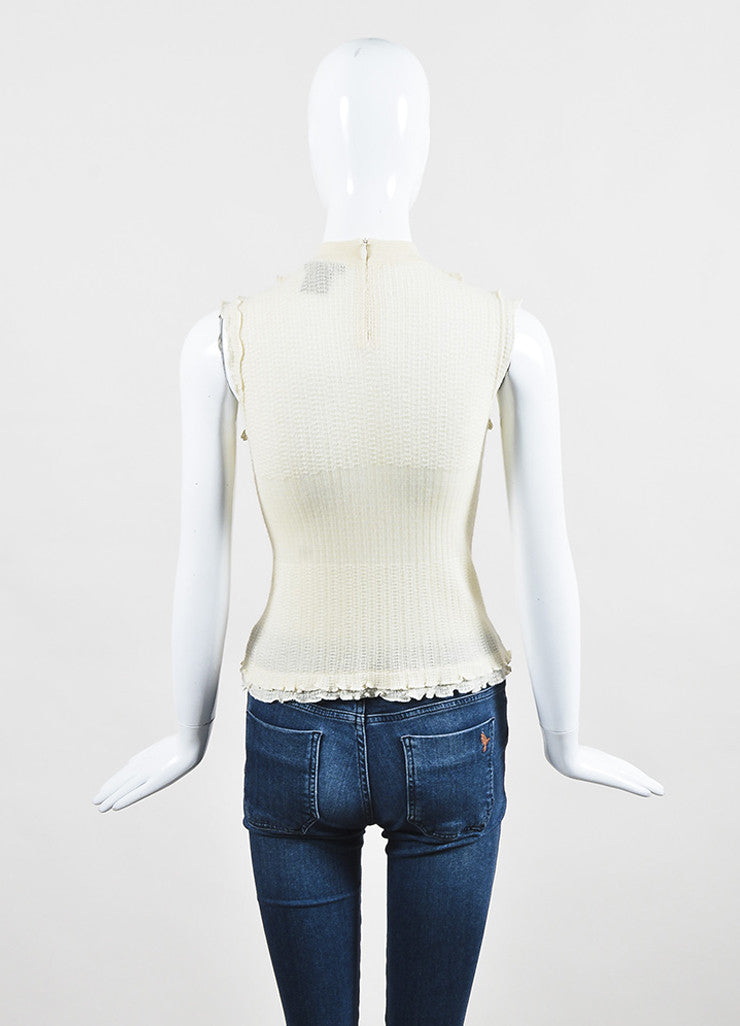 Louis Vuitton Cream Cashmere and Silk Knit Ruffle Faux Pearl Buttoned Sleeveless Top Backview