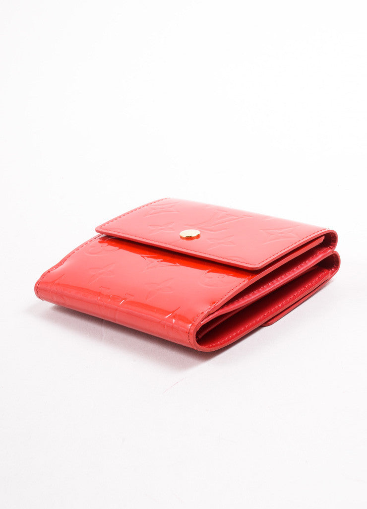 "Louis Vuitton Red Monogram Vernis ""Elise"" Fold Wallet Sideview"
