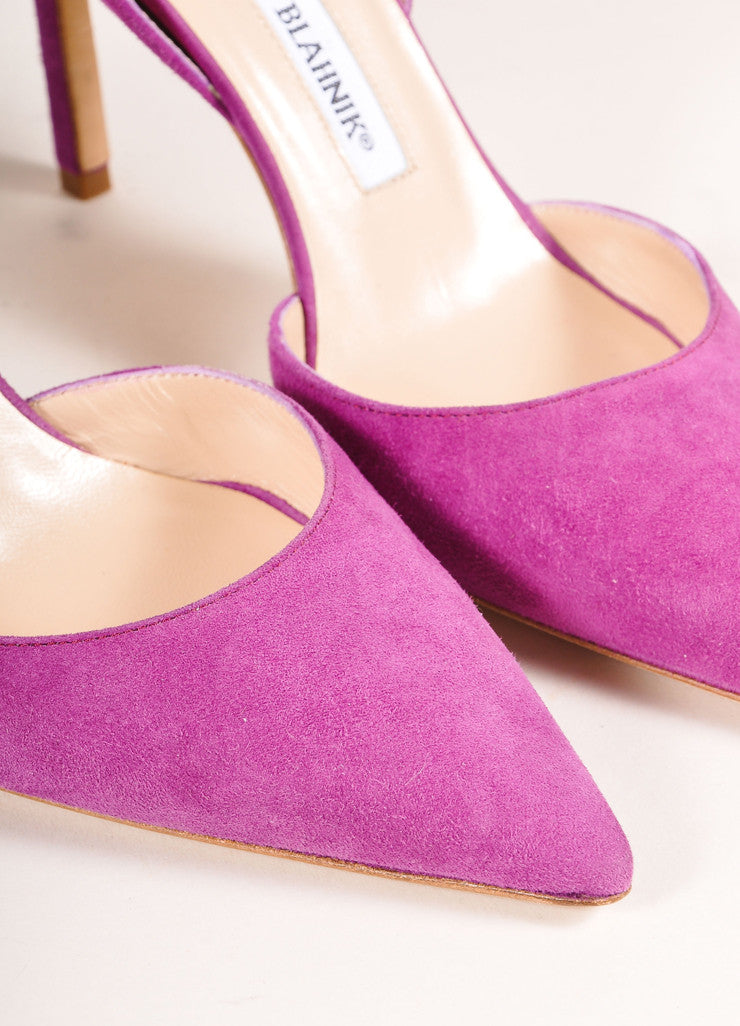 "Manolo Blahnik New In Box Purple Suede Leather Pointed Toe ""Tayler"" Pumps Detail"