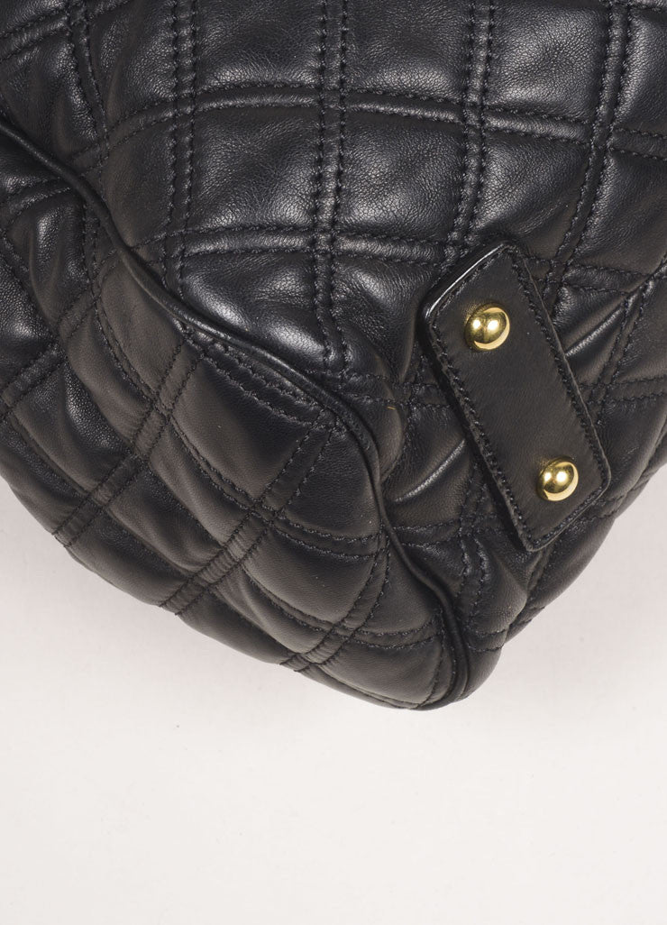 "Marc Jacobs Black Leather Quilted Chain Strap ""Stam"" Bag Detail"