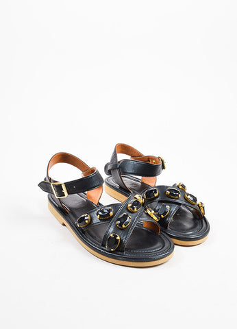 Marni Black Leather Rhinestone Embellished Cross Ankle Strap Flat Sandals Frontview