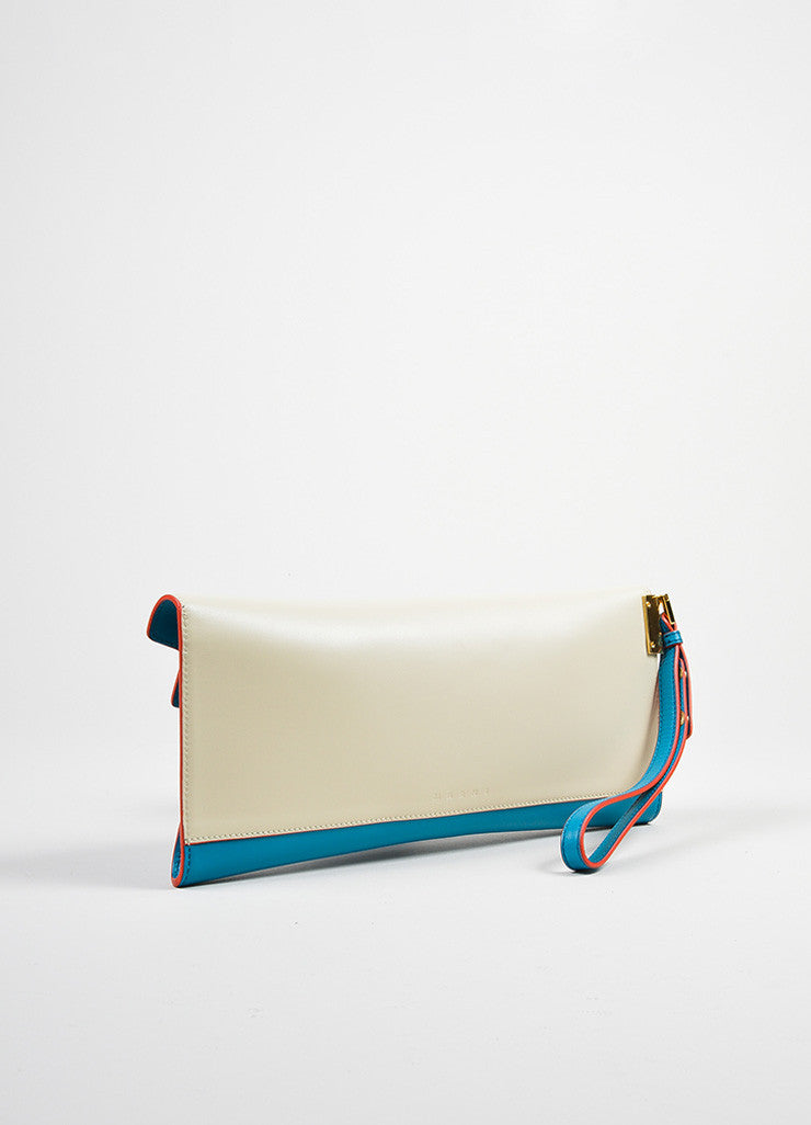 "Blue and Cream ""Vivid Blue Antic White"" Marni Leather ""Origami"" Clutch Bag Backview"