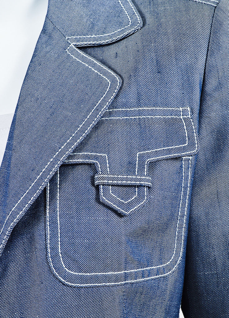 Michael Kors Navy Blue and White Silk Twill Denim Button Up Jacket Detail