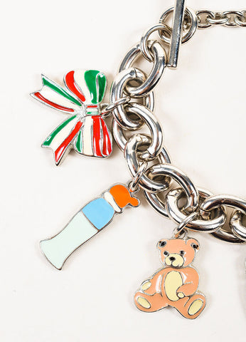 Silver Toned and Multicolor Moschino Enamel Chunky Chain Charm Bracelet Detail