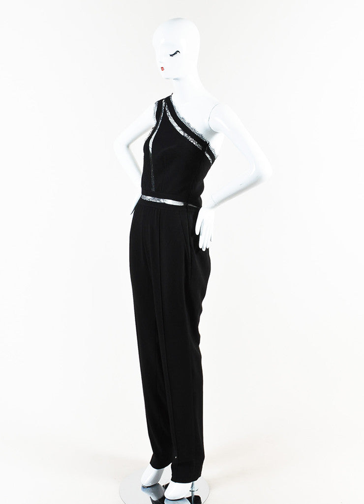 "Noam Hanoch Black Crepe Lace Accent ""Alexa"" One Shoulder Jumpsuit Sideview"