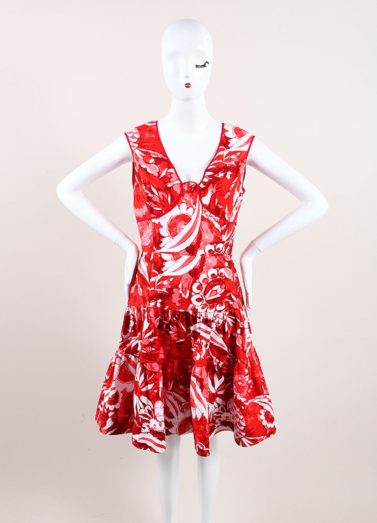 Oscar de la Renta New With Tags Red and White Floral Print Pleated Flare Dress Frontview