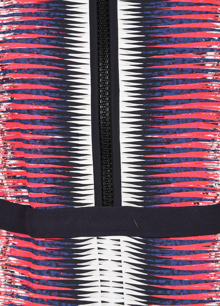 Peter Pilotto Multicolor Printed Mid Sleeve Front Zip Sheath Dress Detail