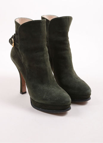 Prada Army Green Suede Buckle Platform Ankle Boots Frontview