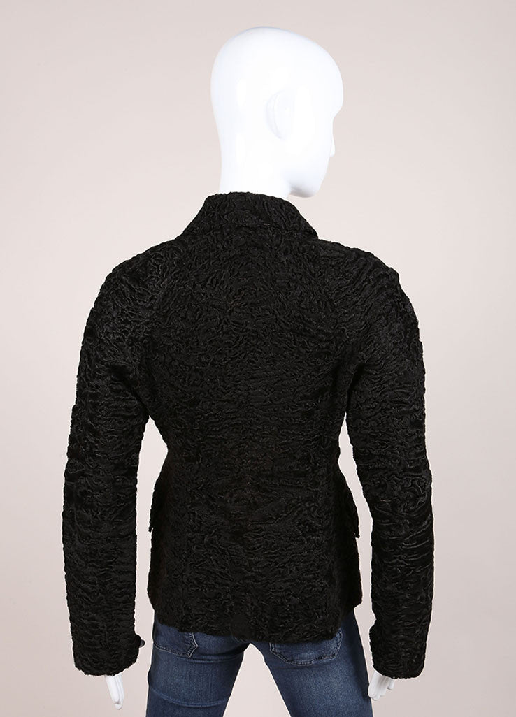 Prada Black Persian Lamb Fur and Leather Textured Long Sleeve Jacket Backview