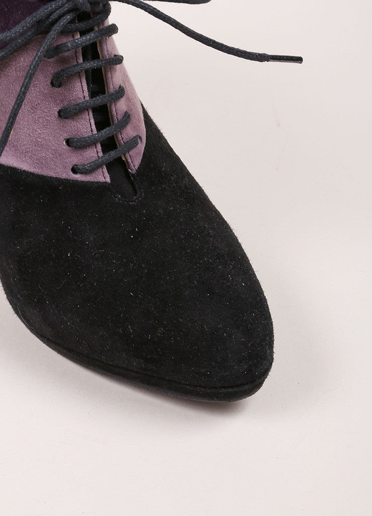 Prada Black and Purple Suede Patchwork Color Block Lace Up Platform Booties Detail