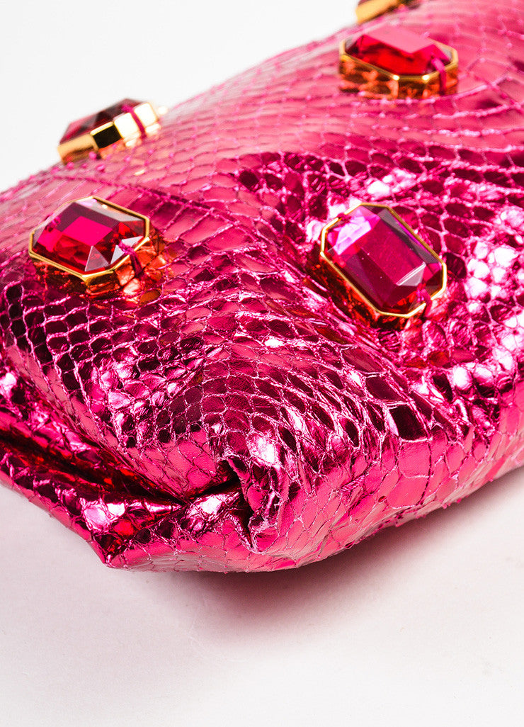 "Prada Magenta ""Ibisco Mordo"" Python Jeweled ""Whips Pietre"" Pouch Clutch Bag Detail"