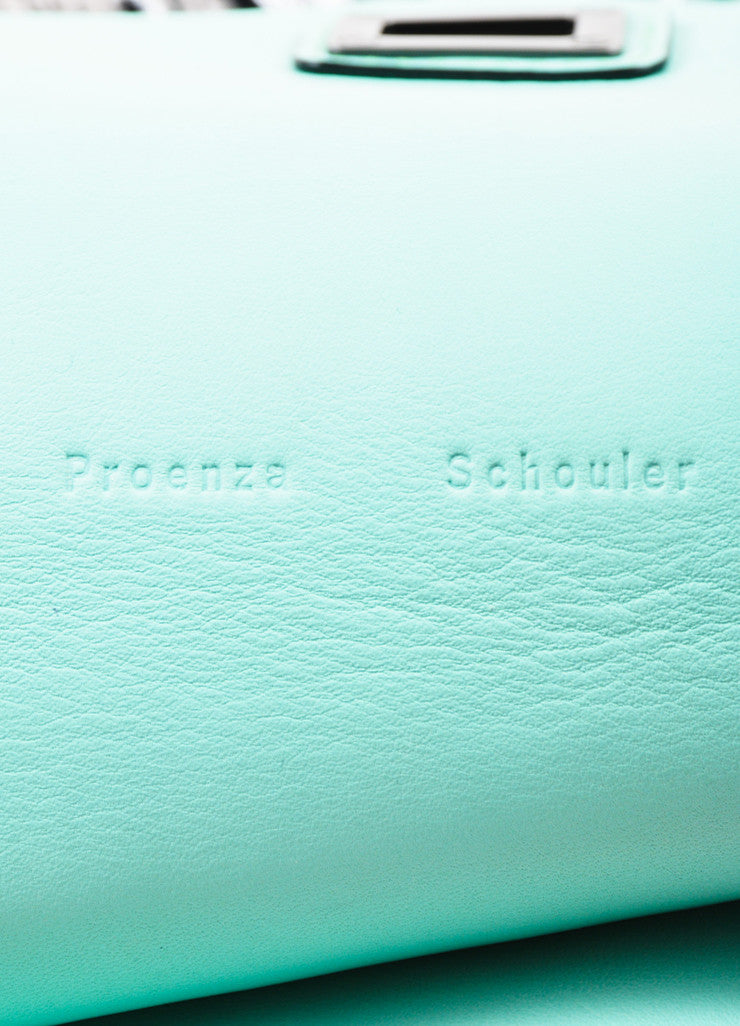 "Proenza Schouler Grey Leather Moire Flocked Print Large ""Lunch Bag"" Clutch Bag Brand"