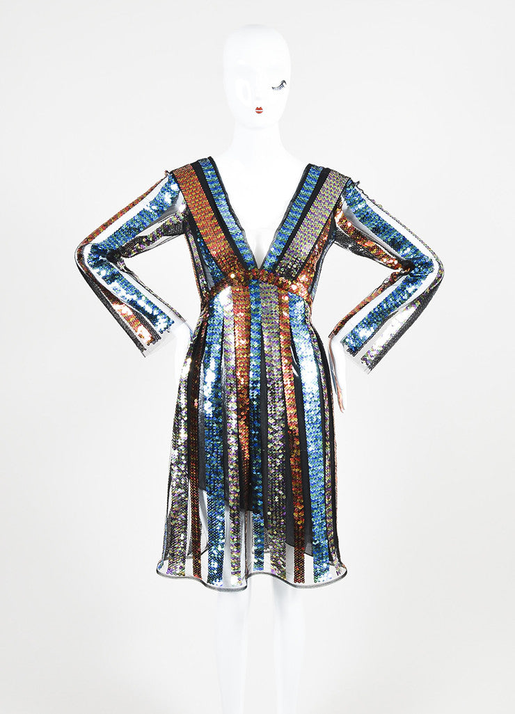 Multicolor Rodarte Sequin Striped Long Sleeve Dress Frontview