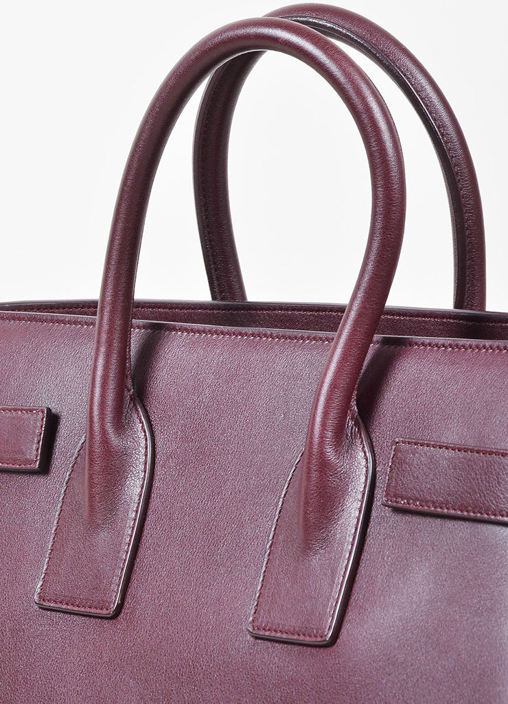 "Burgundy Saint Laurent Leather ""Small Sac De Jour"" Tote Bag Detail 2"