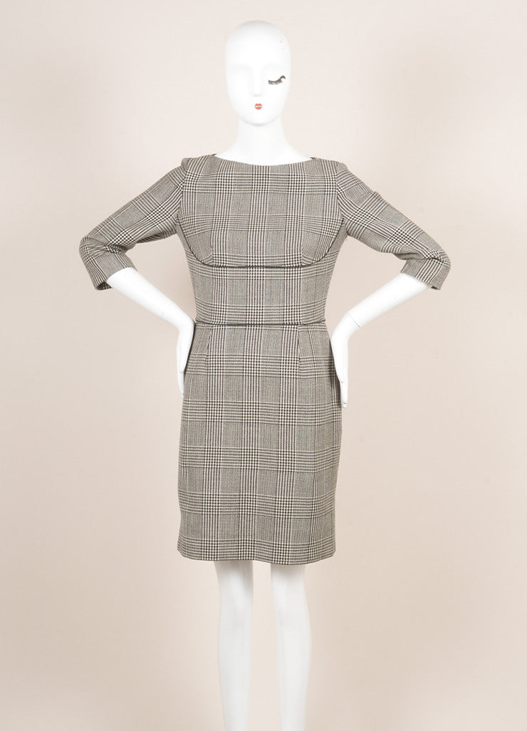 Stella McCartney Black and White Wool Houndstooth Sheath Dress Frontview