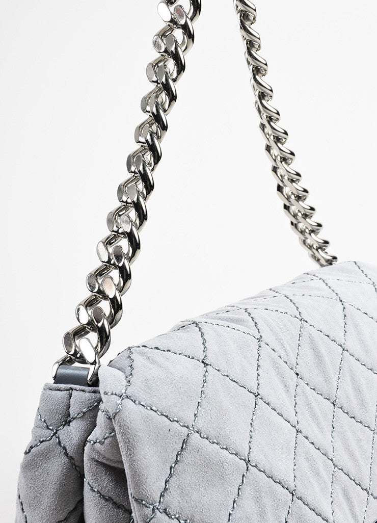 "Stella McCartney Grey Faux Suede Quilted Medium ""Beckett"" Flap Bag Detail 2"
