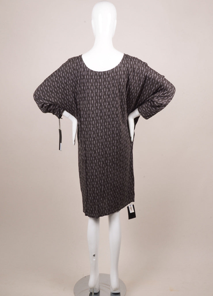 Thakoon New With Tags Grey and Black Jersey Rope Printed Dolman Sleeve Dress Backview