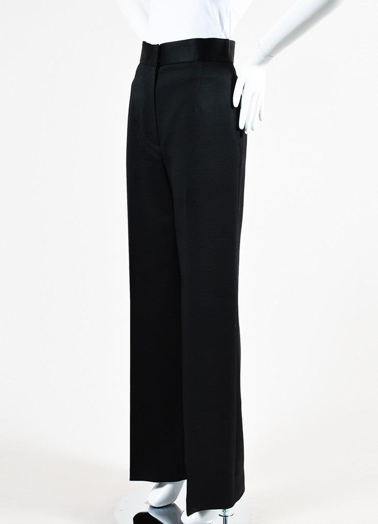 "The Row Black Wool Silk Trim High Waist Wide Leg ""Helip"" Pants Sideview"