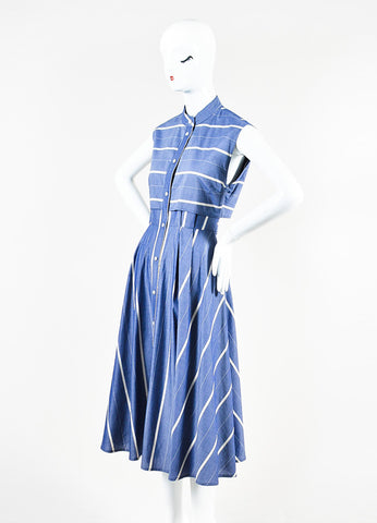 Tome Blue and White Striped Chambray Back Cut Out Sleeveless Shirt Dress Sideview